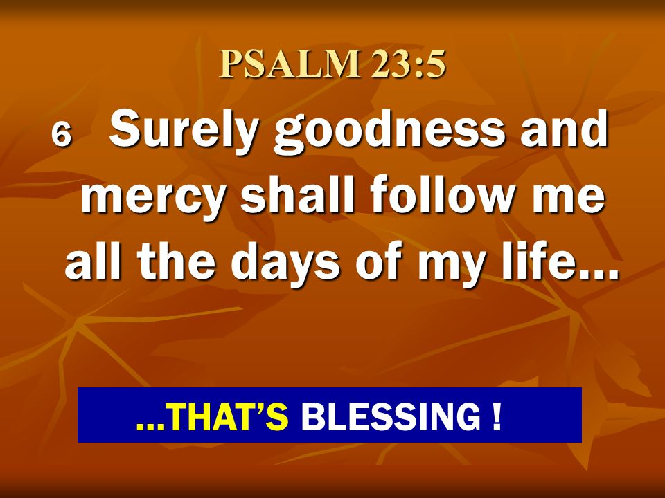 6 Surely goodness and mercy shall follow me all the days of my life…