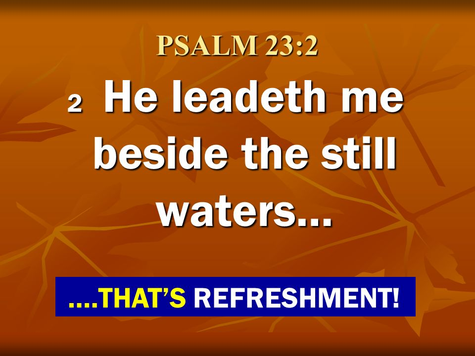 2 He leadeth me beside the still waters…