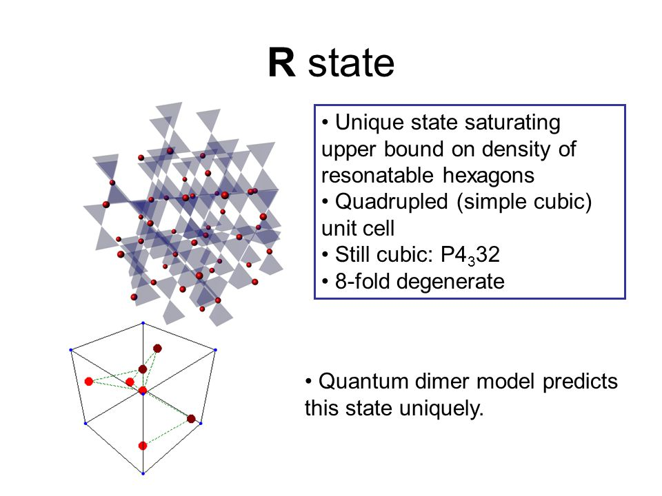 R state Unique state saturating upper bound on density of resonatable hexagons. Quadrupled (simple cubic) unit cell.