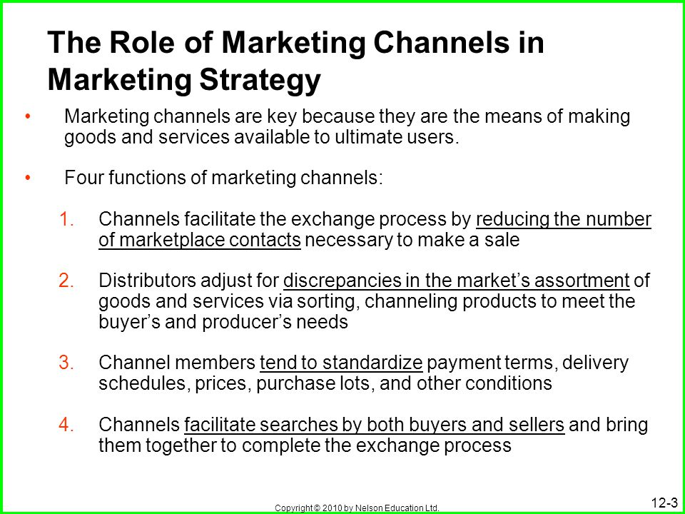 key functions of marketing channel members A channel of distribution serves as the connecting link between the producer and consum­ers it creates time and place utilities by bridging the gap between the time and place of produc­tion and those of consumption channels of distribution increase the efficiency of marketing because the .