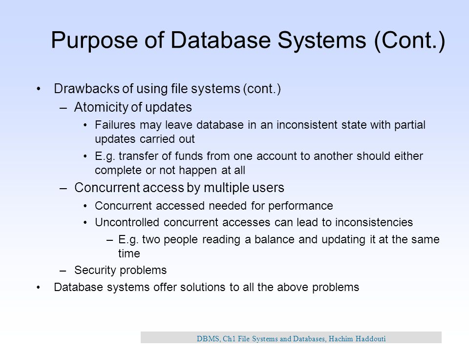 Ch1 File Systems And Databases Hachim Haddouti Ppt