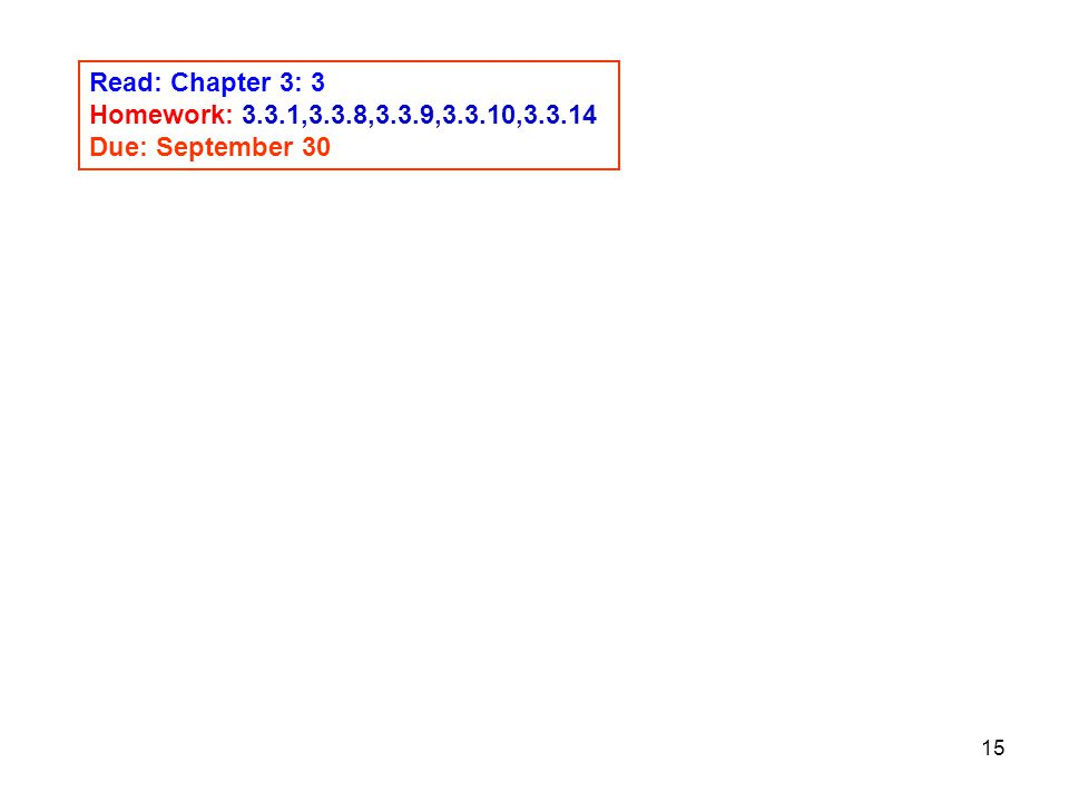 Read: Chapter 3: 3 Homework: 3.3.1,3.3.8,3.3.9,3.3.10, Due: September 30