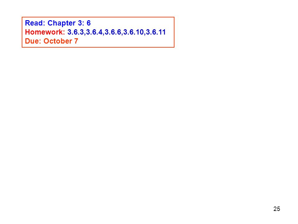 Read: Chapter 3: 6 Homework: 3.6.3,3.6.4,3.6.6,3.6.10, Due: October 7