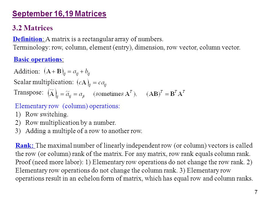 September 16,19 Matrices 3.2 Matrices