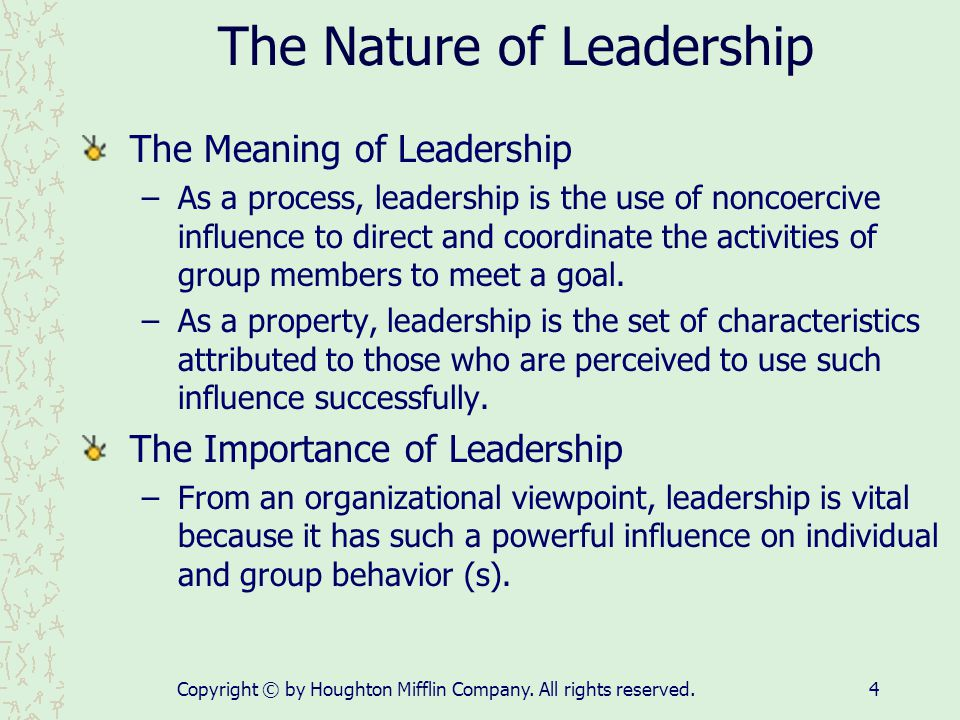 the nature and function of leadership Directing function is the basis of management process and the accomplishment of goals depends on this this function is also known as actuating function of management as an enterprise's running really begins on the direction.