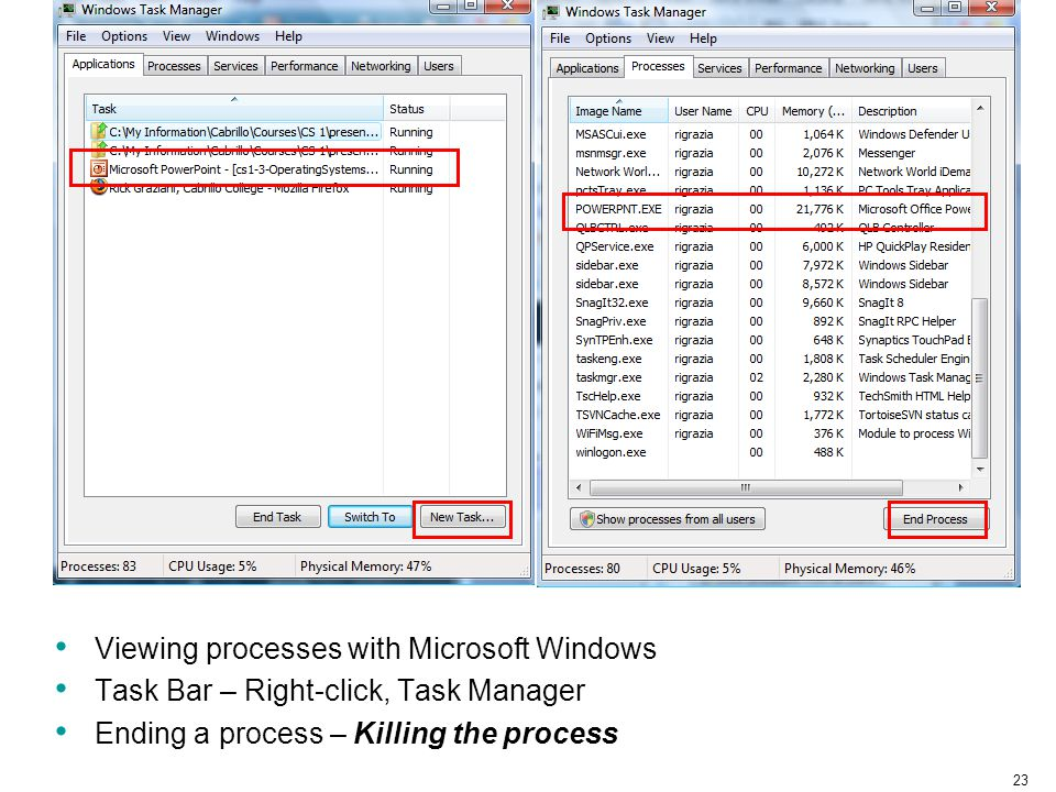 Viewing processes with Microsoft Windows