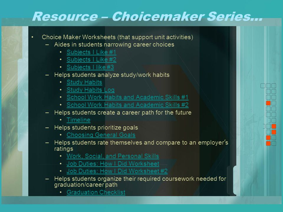Career development series ppt video online download 15 resource choicemaker malvernweather Images