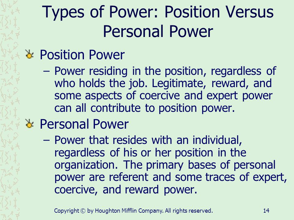 Types of Power: Position Versus Personal Power