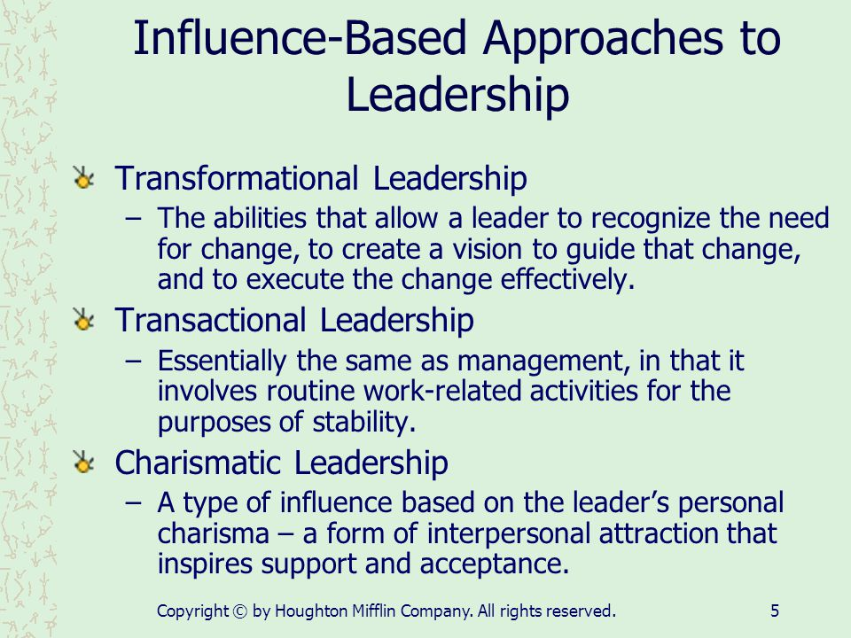Influence-Based Approaches to Leadership