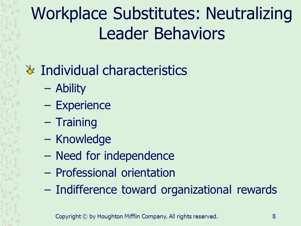 Workplace Substitutes: Neutralizing Leader Behaviors