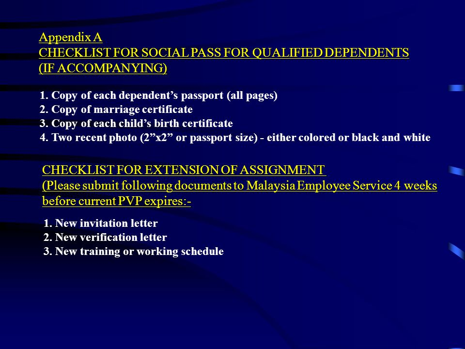 CHECKLIST FOR SOCIAL PASS FOR QUALIFIED DEPENDENTS (IF ACCOMPANYING)