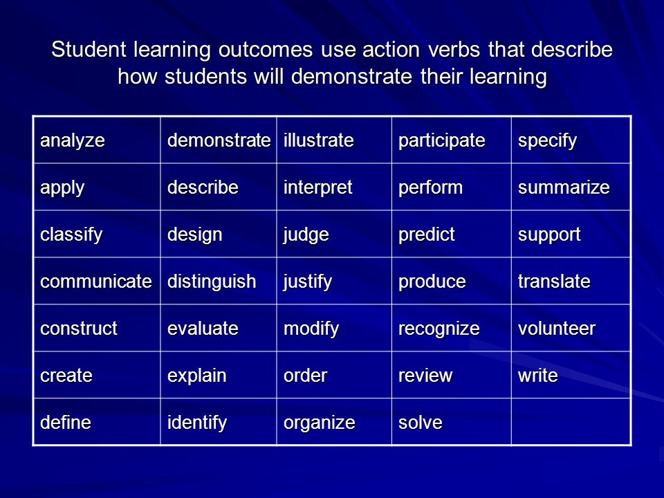Student learning outcomes use action verbs that describe how students will demonstrate their learning