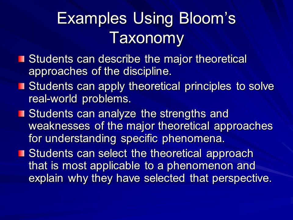 Examples Using Bloom's Taxonomy