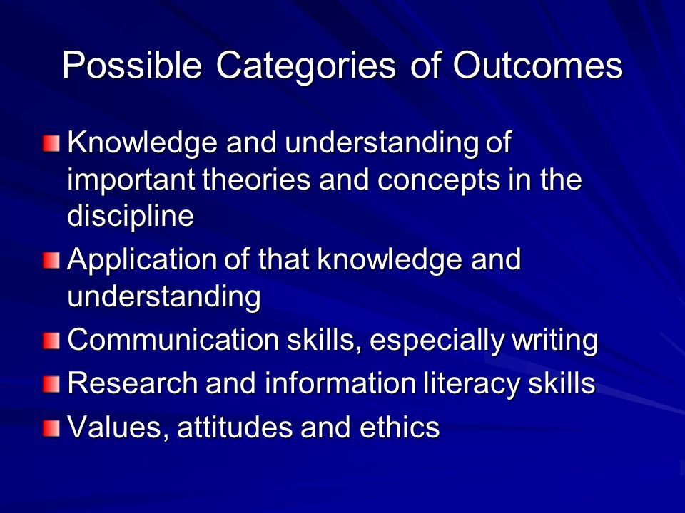 Possible Categories of Outcomes