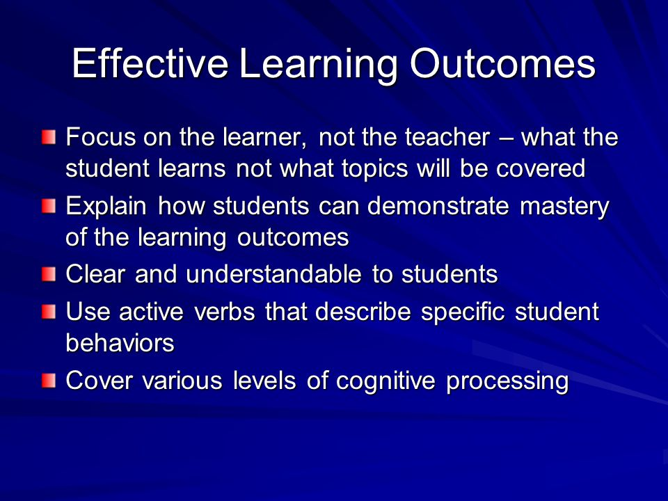 Effective Learning Outcomes