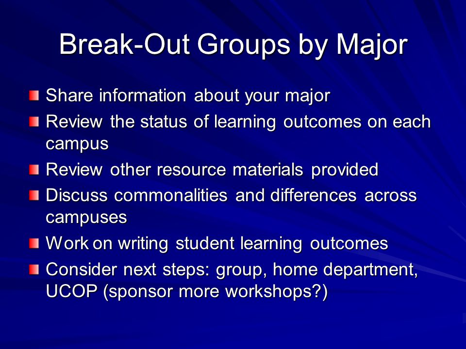Break-Out Groups by Major