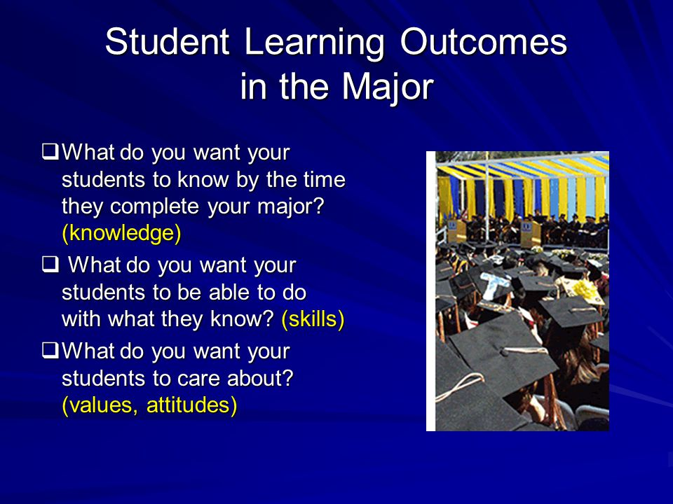 Student Learning Outcomes in the Major