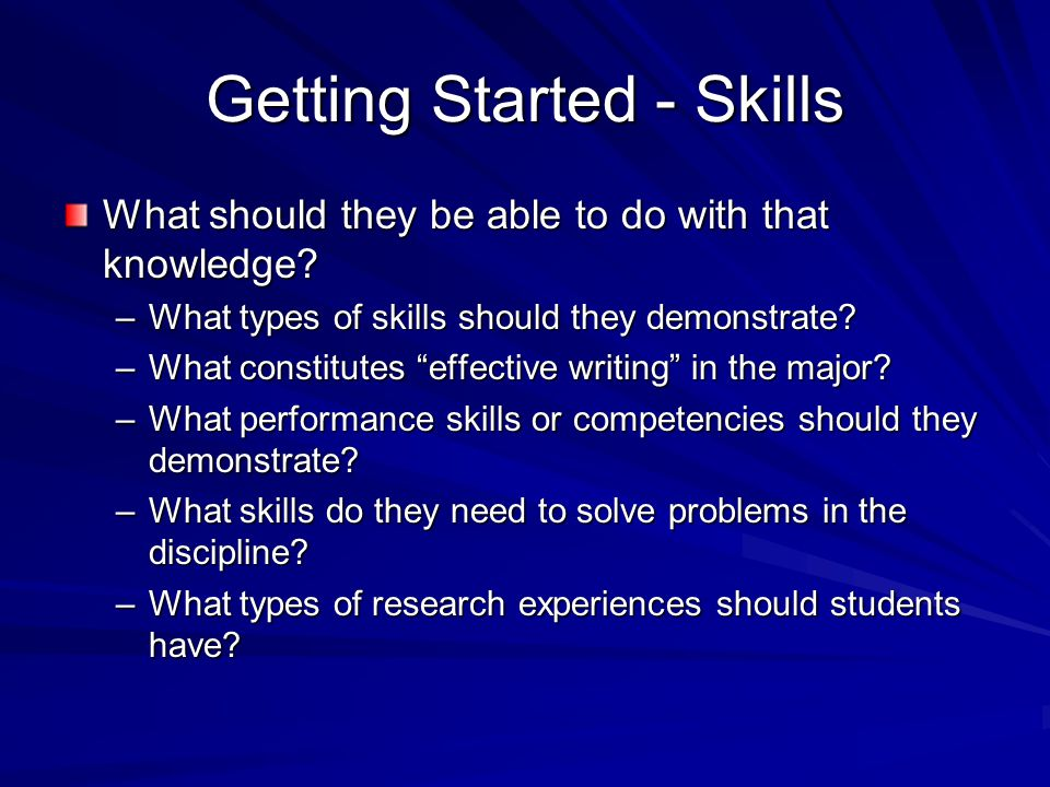 Getting Started - Skills