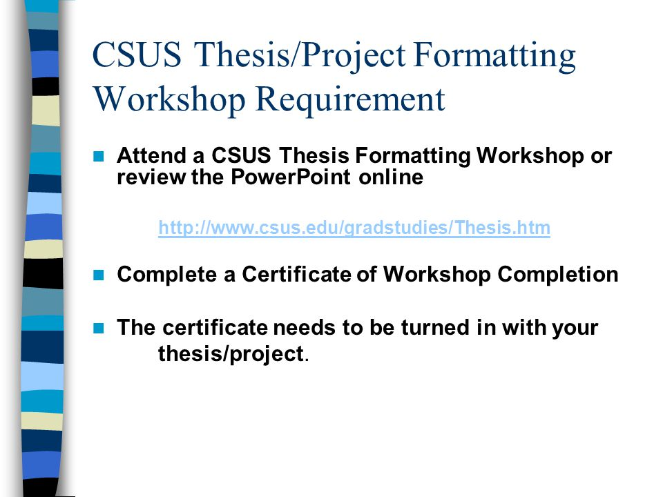 CSUS Thesis/Project Formatting Workshop Requirement
