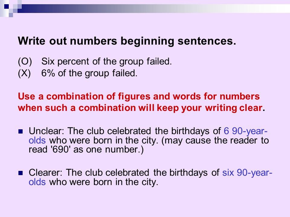 Rule for writing out numbers