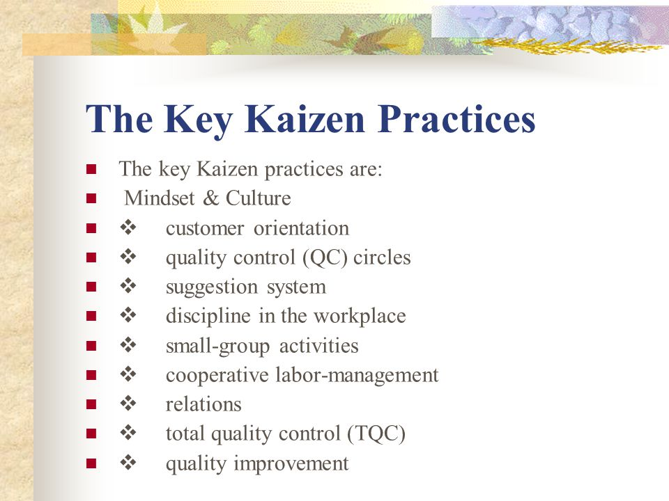 the kaizen management philosophy Change management can be used as an ongoing philosophy for change kaizen is explored in this article as a way to continuous improvement as a part of change management.