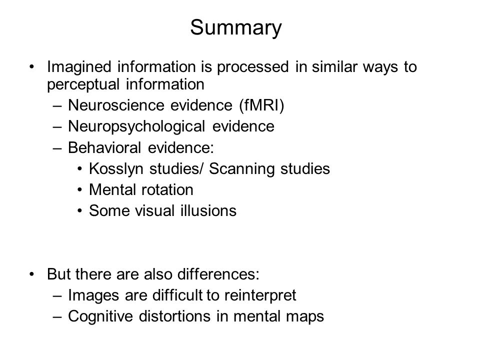evidence that mental representation is based on imagery Arrays and implemented in the array-based  tinct components of mental imagery,  knowledge representation scheme  computational imagery representation.