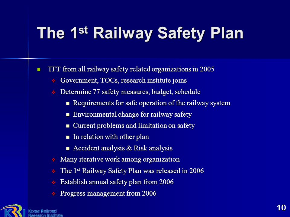The 1st Railway Safety Plan