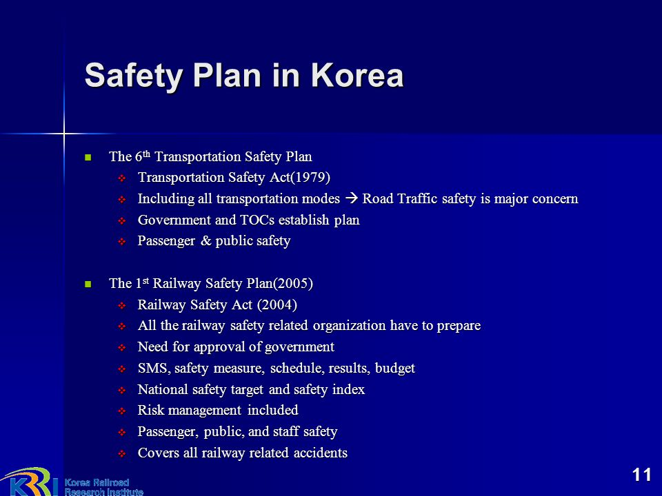 Safety Plan in Korea The 6th Transportation Safety Plan