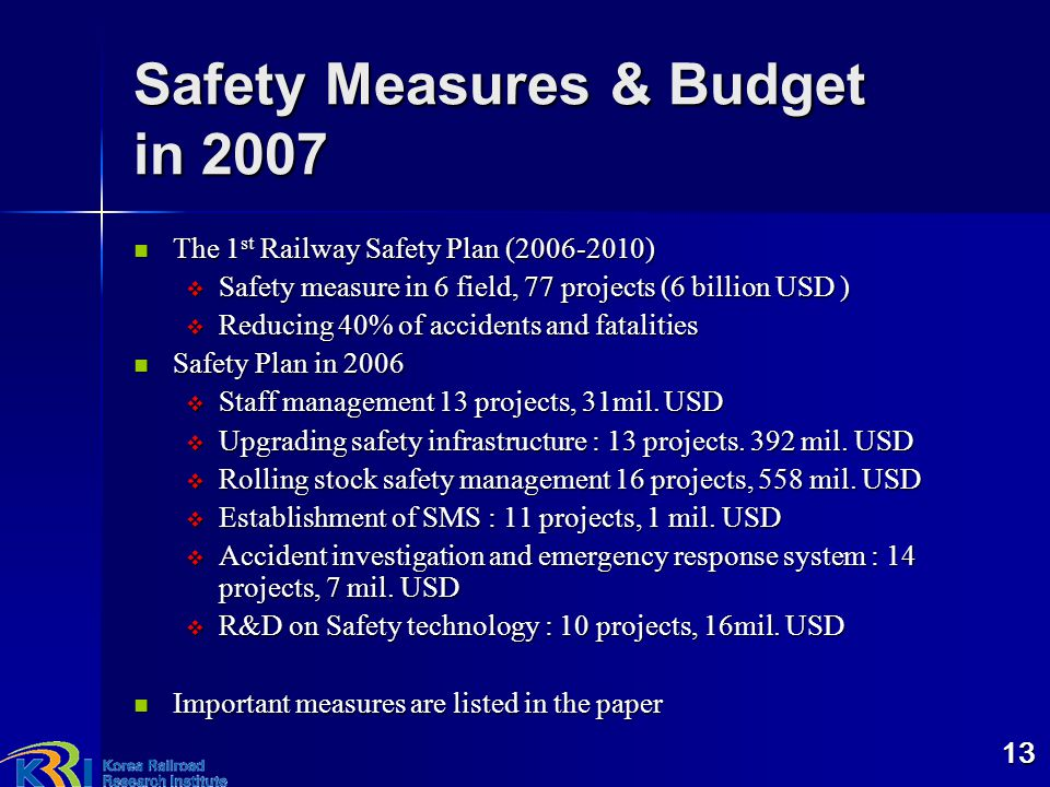 Safety Measures & Budget in 2007