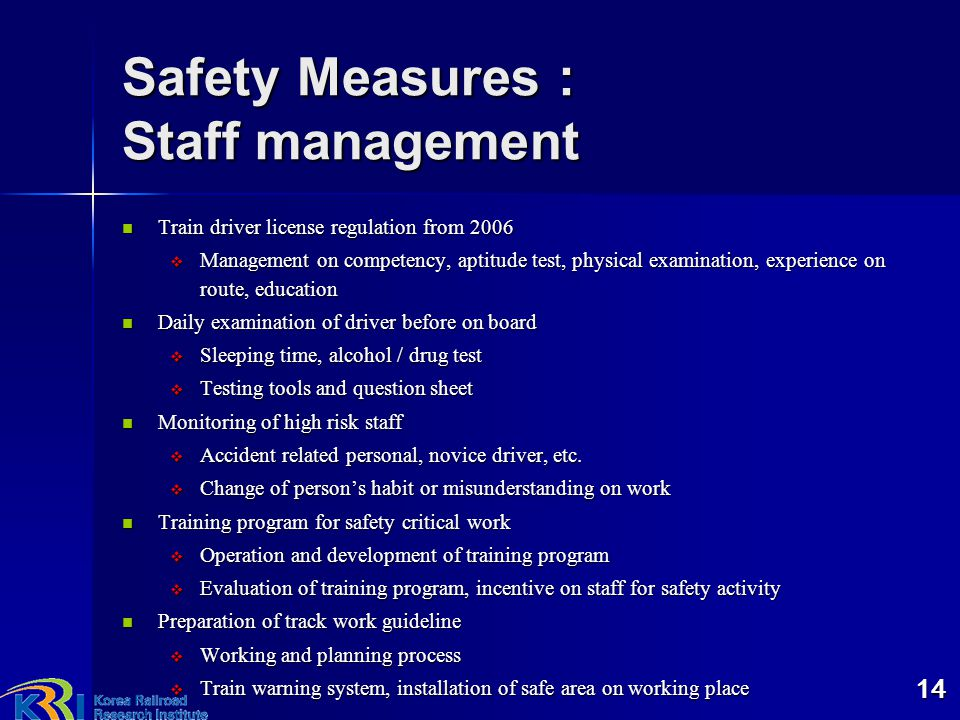 Safety Measures : Staff management