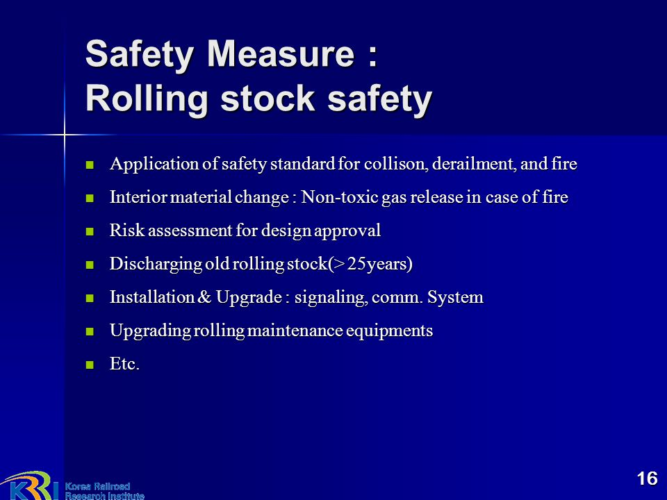 Safety Measure : Rolling stock safety