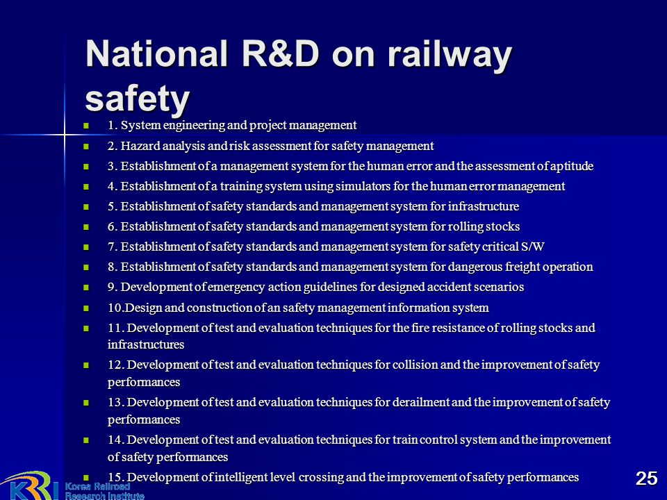 National R&D on railway safety