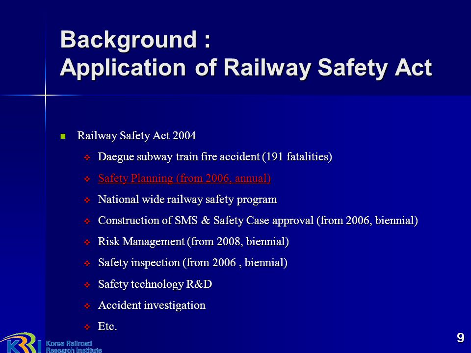 Background : Application of Railway Safety Act