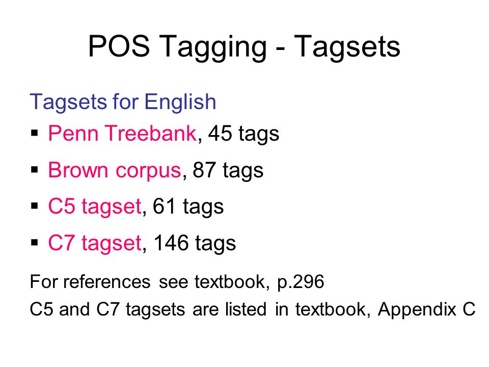 POS Tagging - Tagsets Tagsets for English Penn Treebank, 45 tags