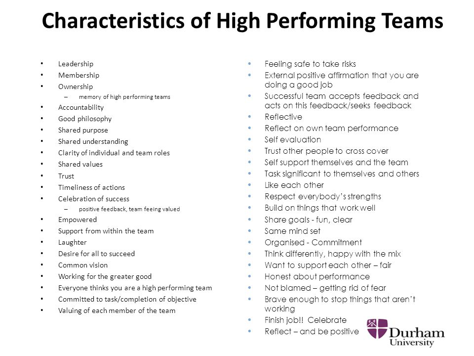 an analysis of features of a high performance team Chapter 10 teamwork and high performance teams study questions characteristics of high performance teams data gathering and analysis planning for team.