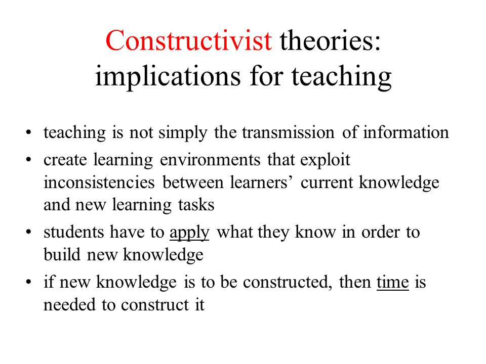 implications of learning theories in modern Educational implications of piaget's theory ch 2, p 41 educational implications  of piaget's theory piaget's theories have had a major impact on the theory.