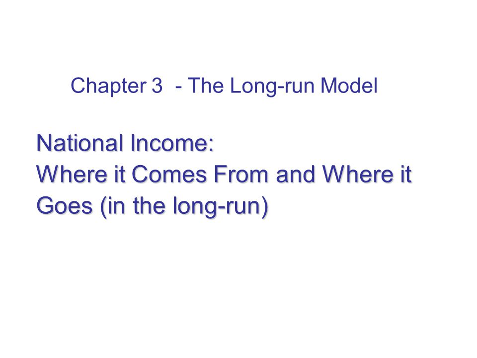 In this chapter: what determines the economy's total output/income in the long-run. how the prices of the factors of production are determined.