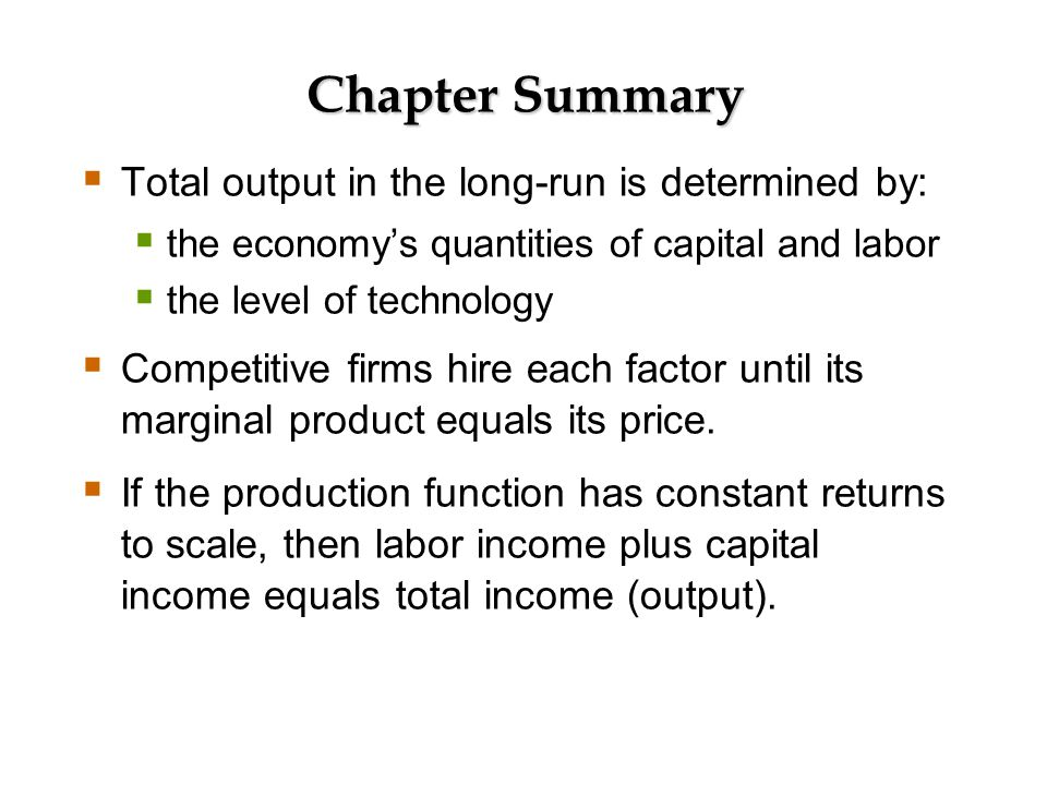 Chapter Summary A closed economy's output is used for: