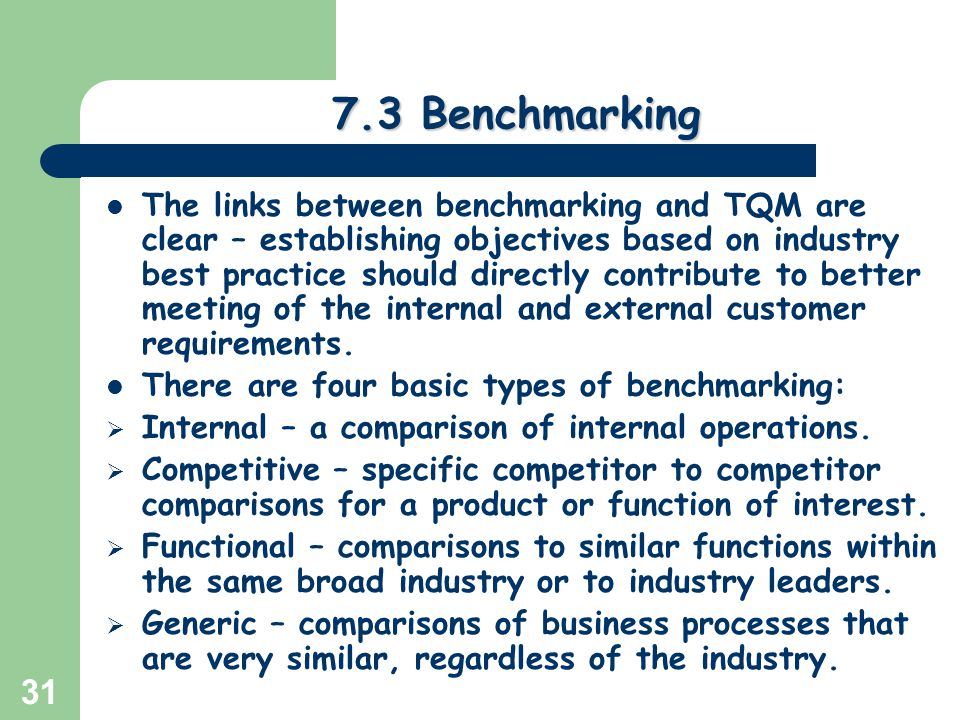 Compare and contrast generic benchmarking