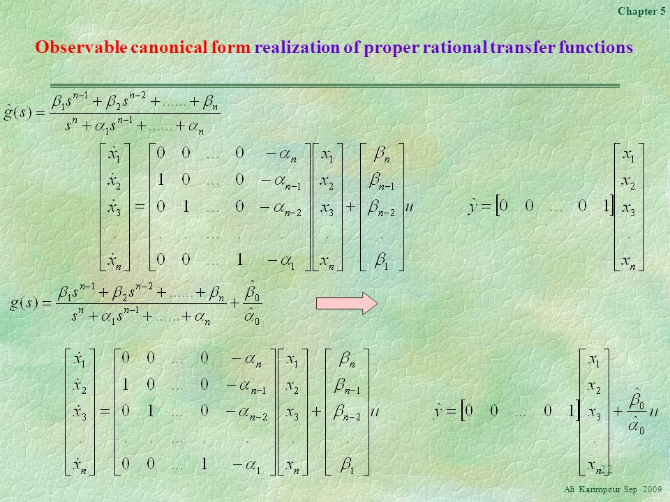 Observable canonical form realization of proper rational transfer functions