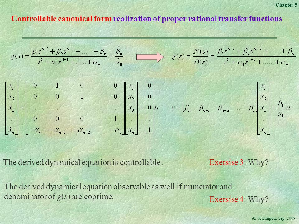 Controllable canonical form realization of proper rational transfer functions