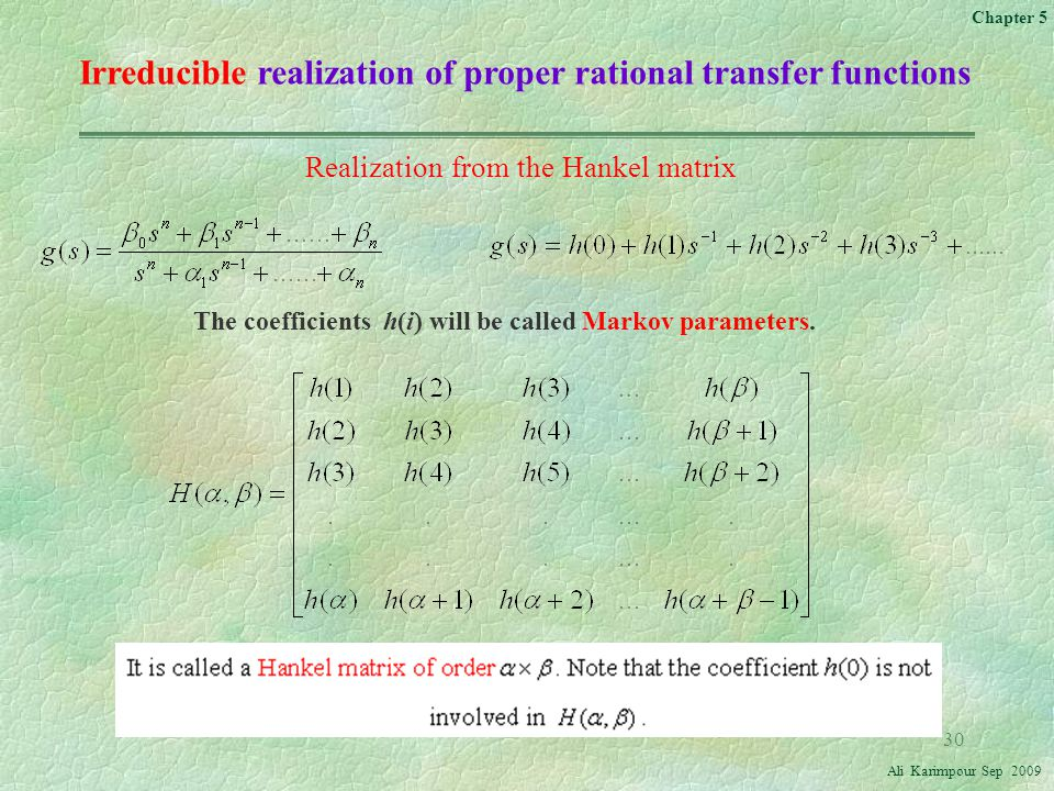 Irreducible realization of proper rational transfer functions