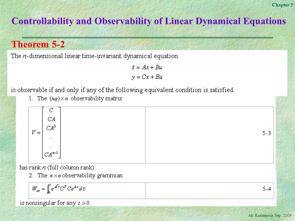 Controllability and Observability of Linear Dynamical Equations