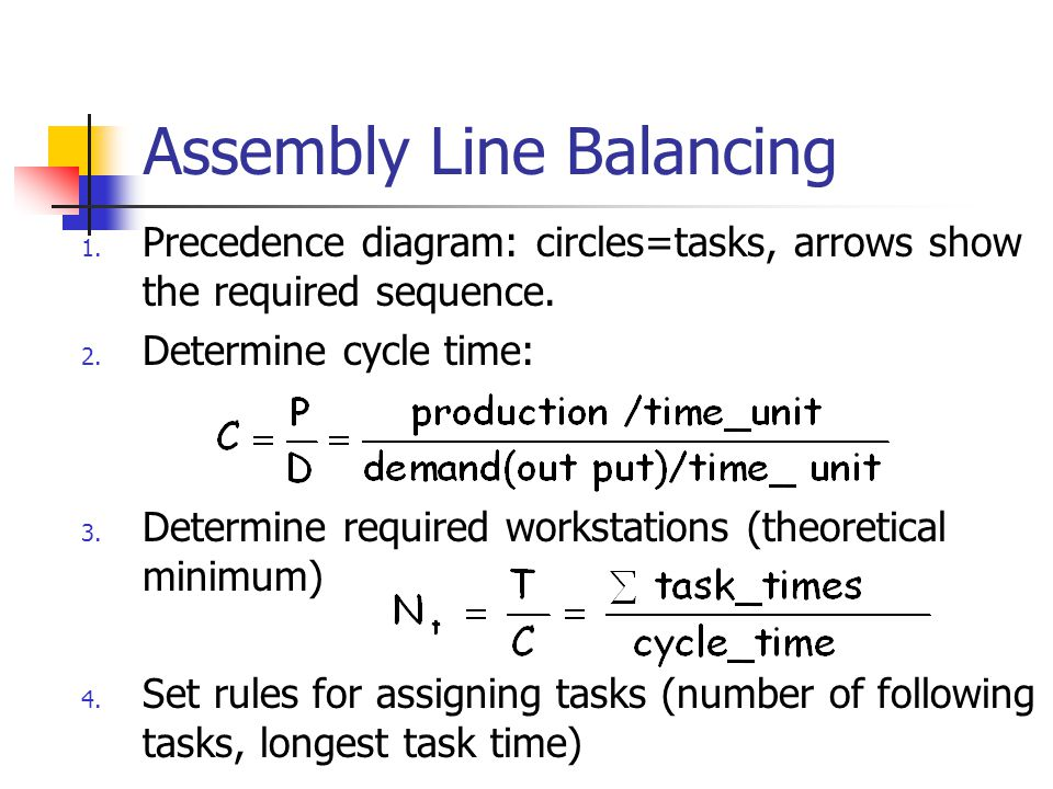 assembly line balancing Assembly line balancing operations management homework and assignment help, homework and project assistance assembly line balancing an assembly line consists of a series of workstations each with a uniform.