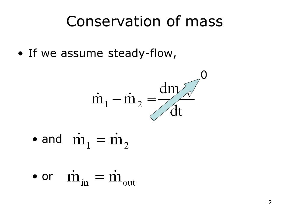 Conservation of mass If we assume steady-flow, and or