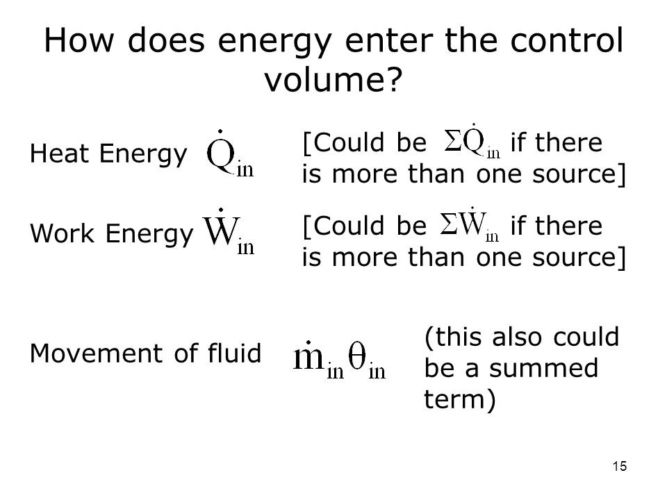 How does energy enter the control volume