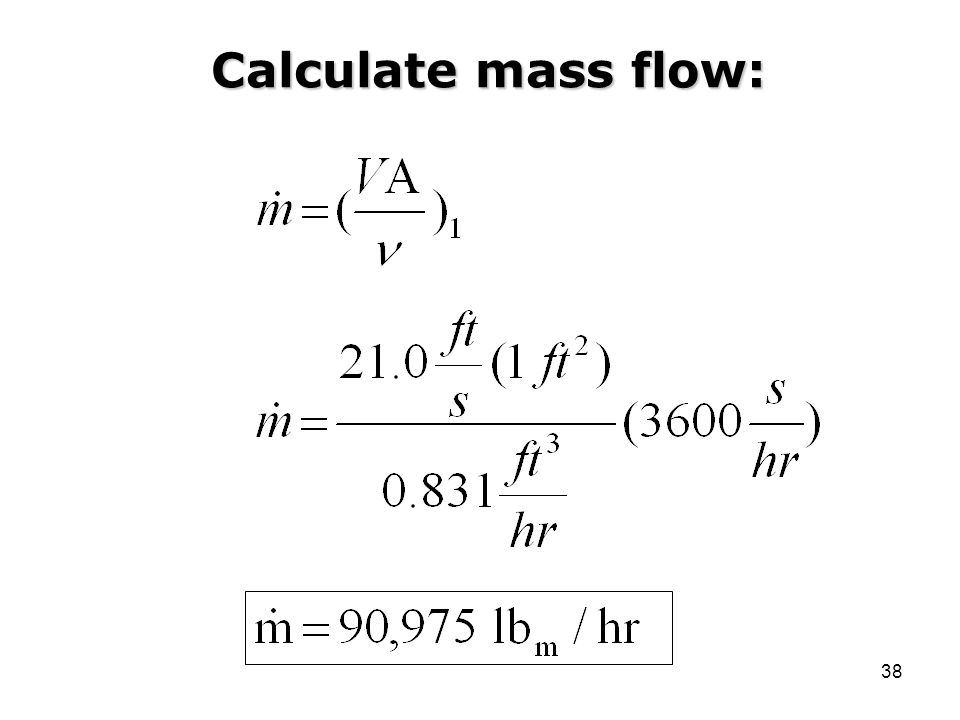Calculate mass flow: