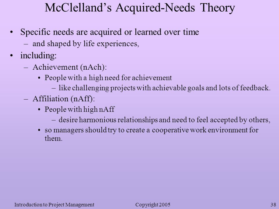 mcclellands acquired needs theory Mcclelland's motivational needs: a case study of physical mcclelland's theory in west which measures motivational needs based on mcclelland's trichotomy.