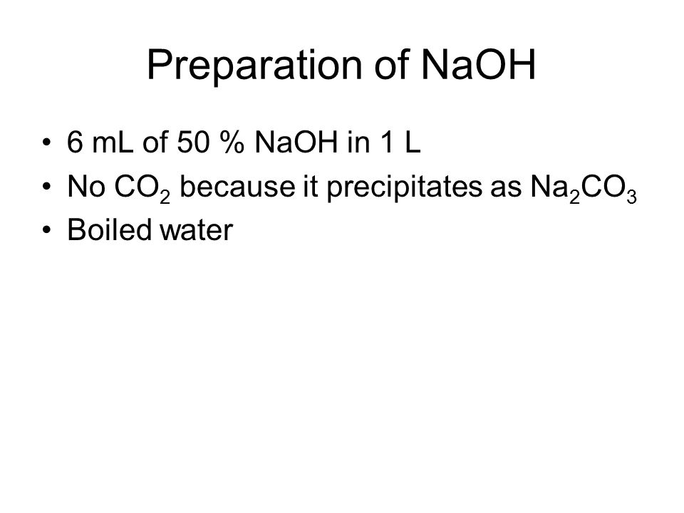 preparation standadization of naoh Was allowed to cool sodium hydroxide was prepared free from carbonate by  adding  the next standardization was by the gravimetric silver-chloride method.