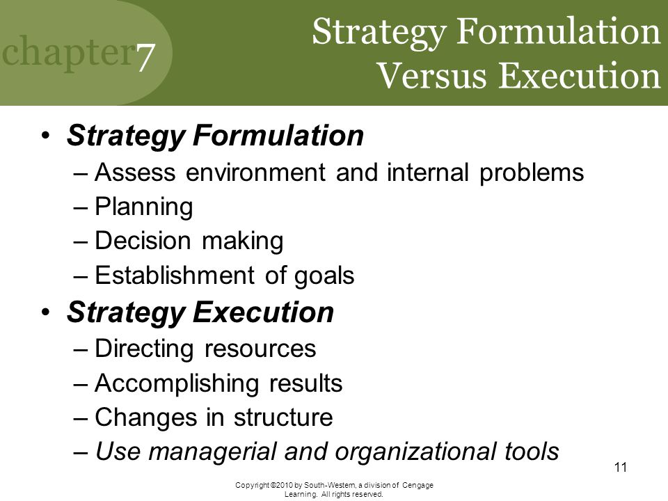 Strategy Formulation Versus Execution